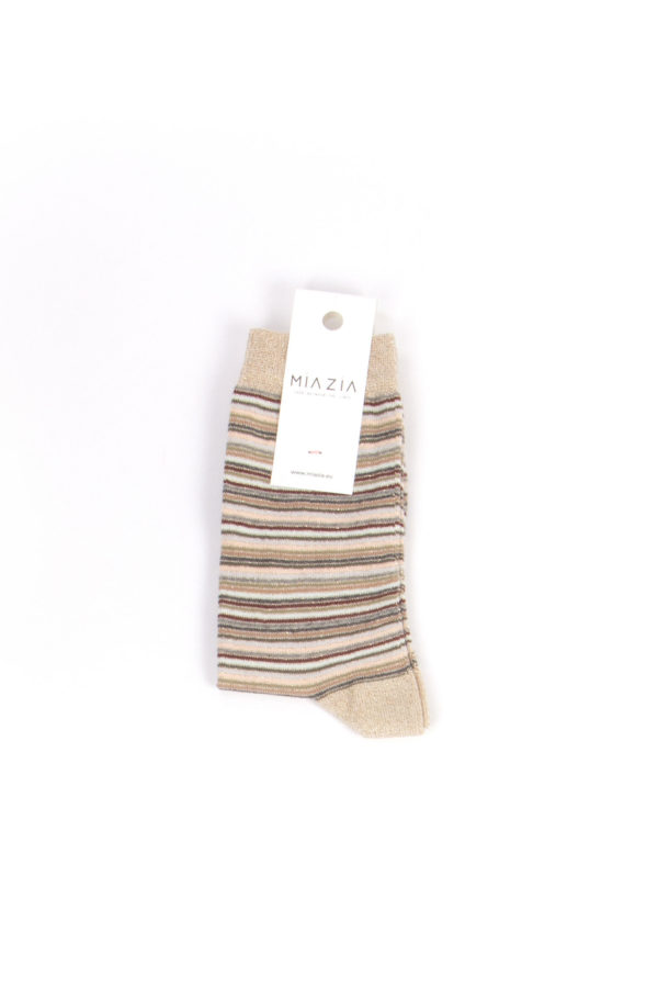 Pair of camel shiny striped sock for women
