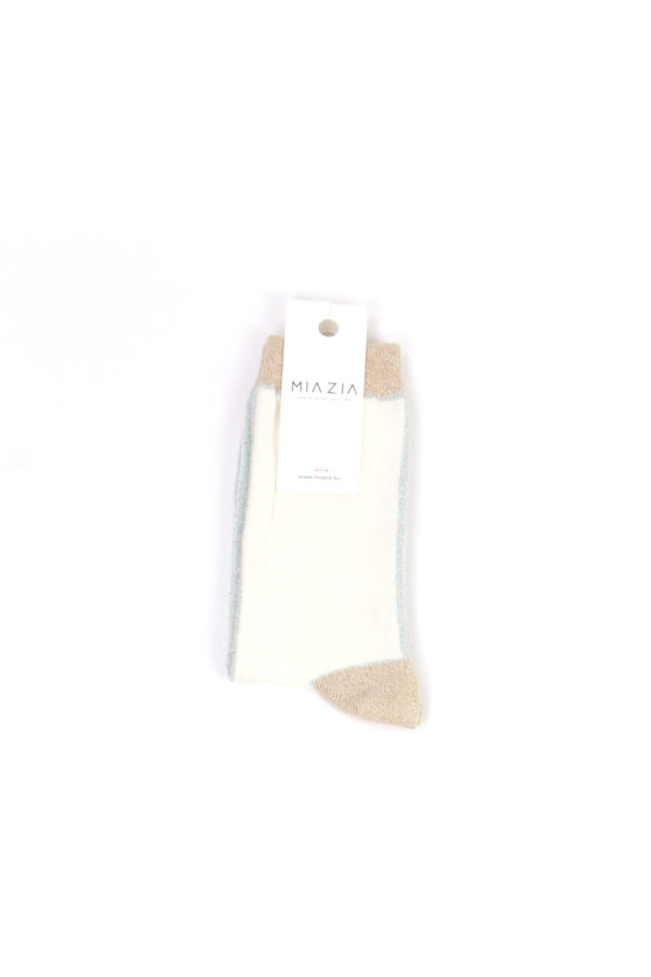Pair of white socks with camel shiny welt