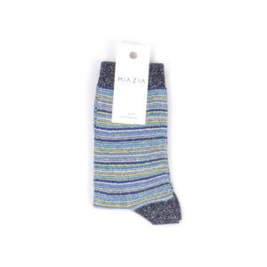 Pair of blue shiny striped sock for women
