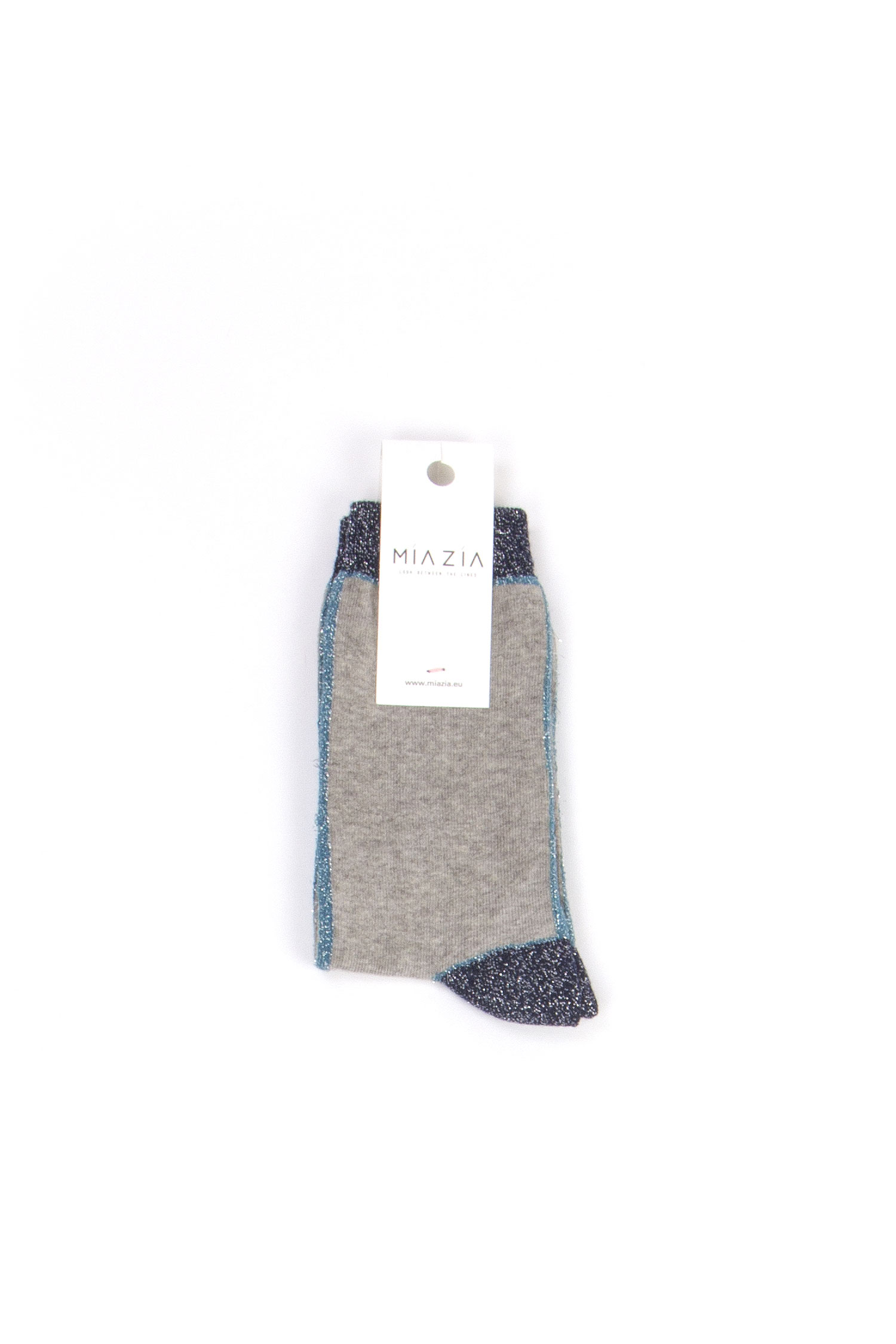 Pair of grey socks with blue grey shiny welt