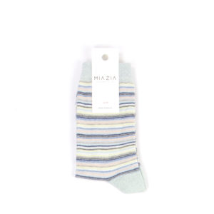 Pair of mint shiny striped sock for women