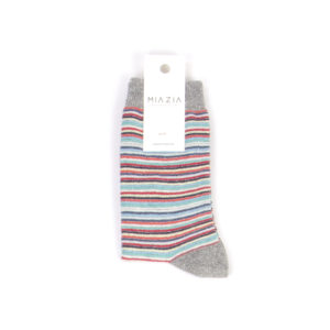 Pair of light grey shiny striped socks for women