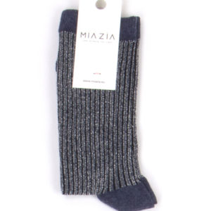 Pair of blue grey glittered socks for women