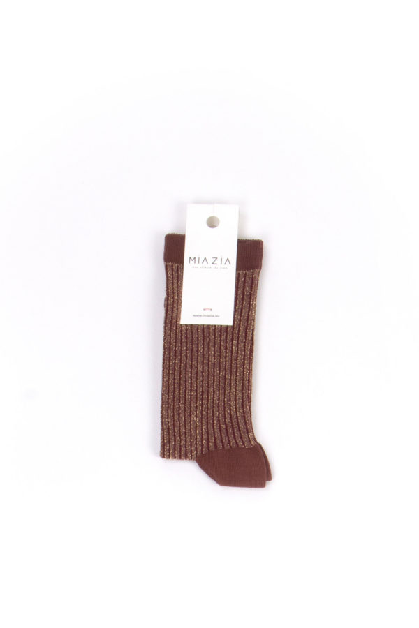 Pair of brown glittered socks for women