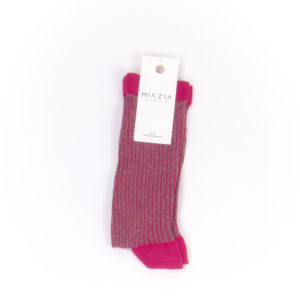 Pair of pink glittered socks for women