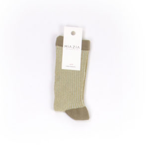 Pair of khaki glittered socks for women