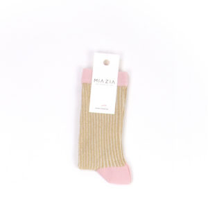 Pair of gold and pink glittered socks for women
