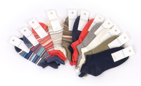 pack of short striped and plain socks