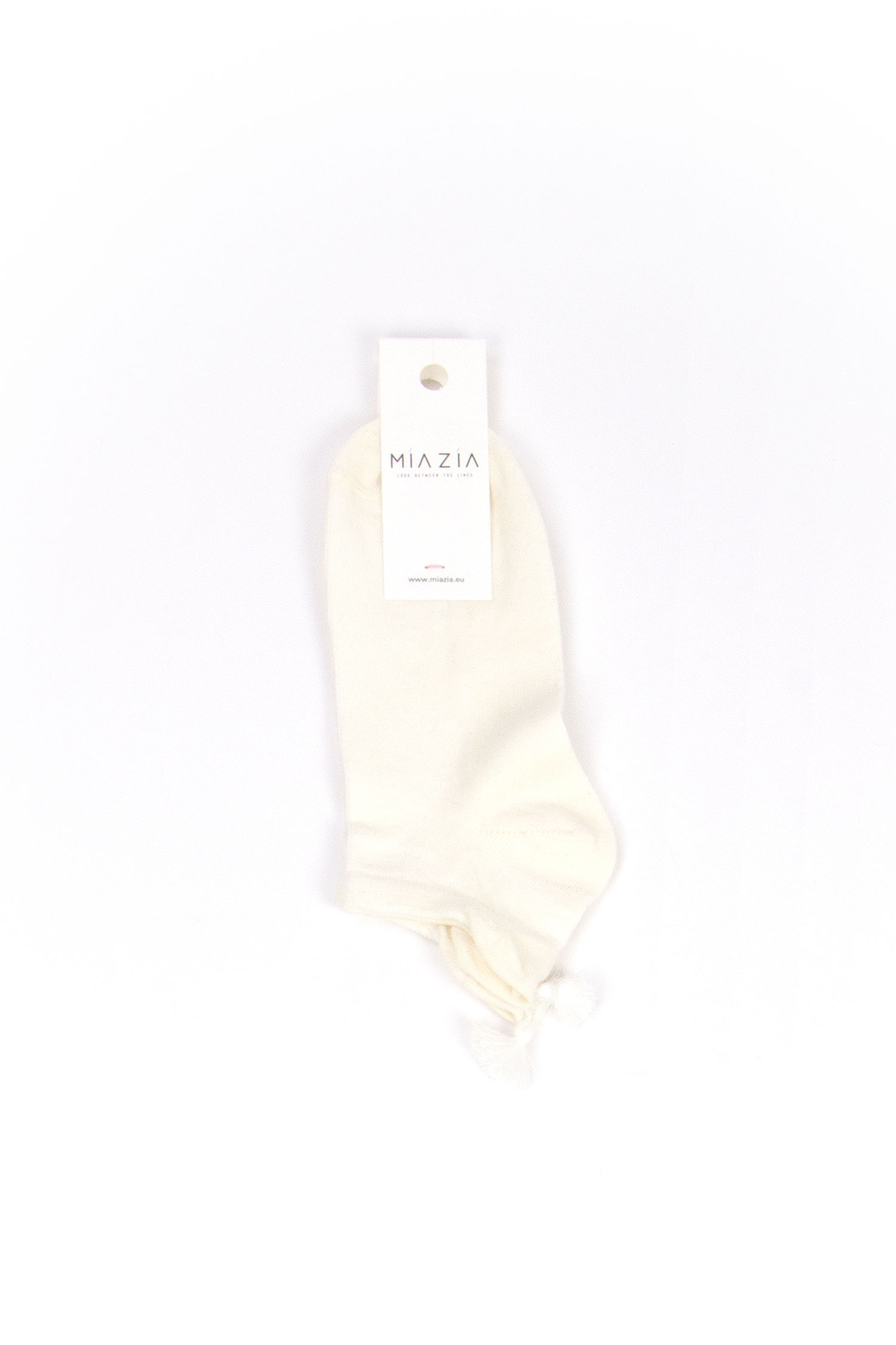 Pair of short beige socks with pompon
