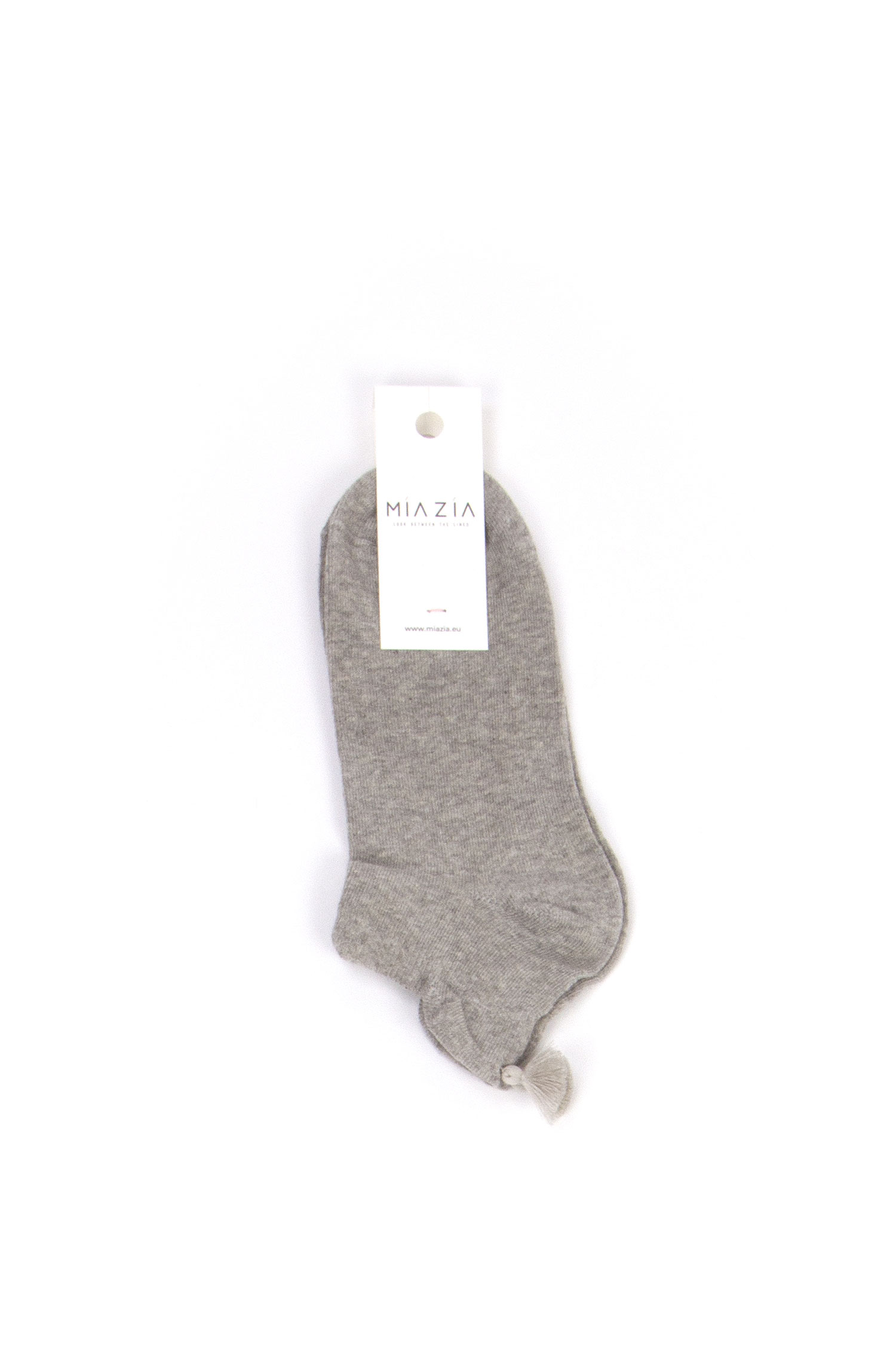 Pair of short grey socks with pompon