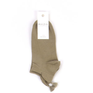 Pair of short khaki socks with pompon