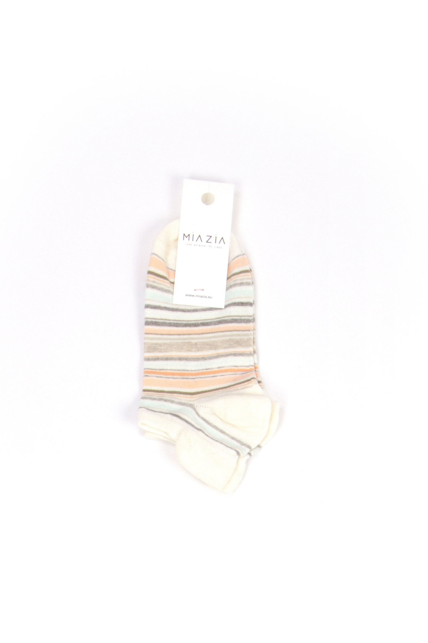 Pair of short beige striped socks