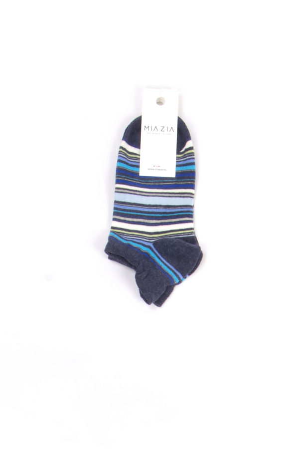 Pair of short navy blue striped socks