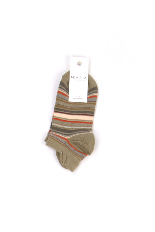 Pair of short khaki striped socks