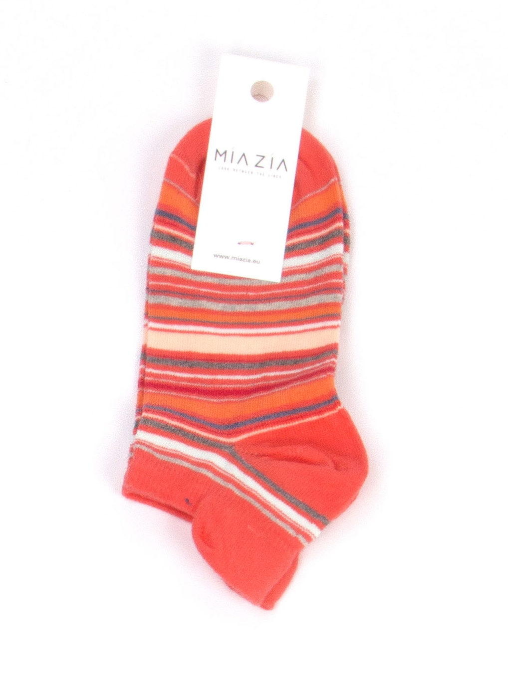 Pair of short coral striped socks