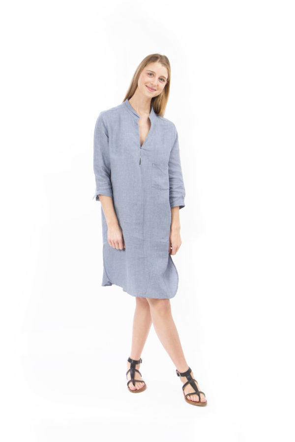 blue grey dress cotton with stitched details