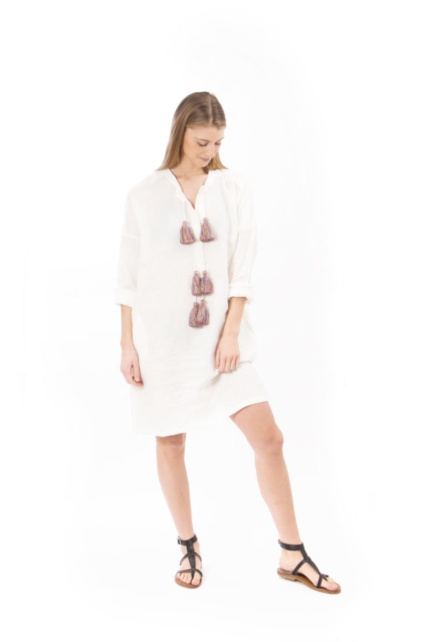 white linen dress with pompon
