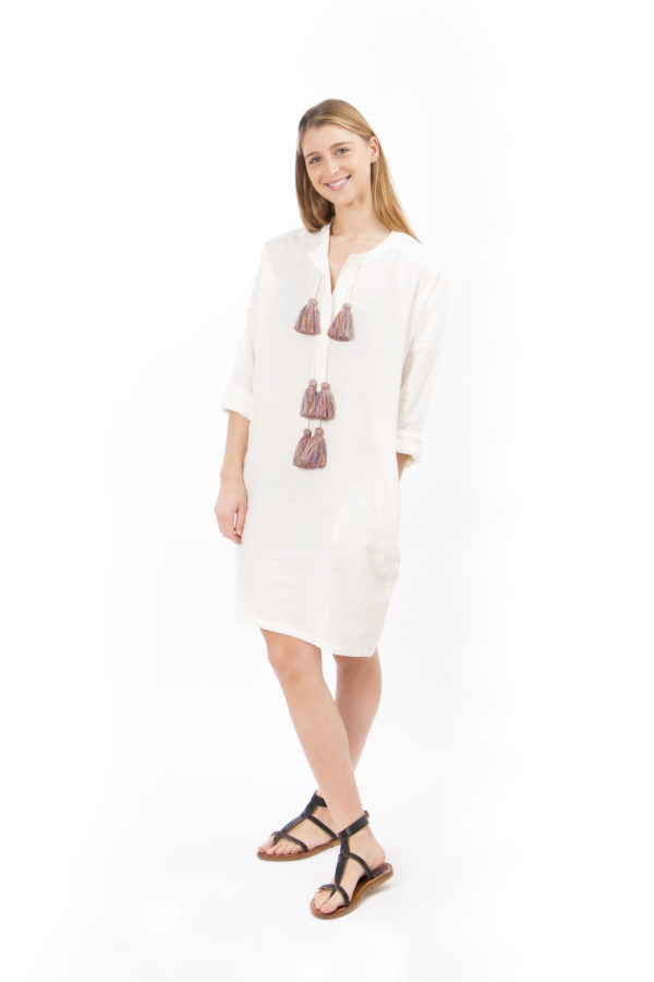 white linen dress with six pompons