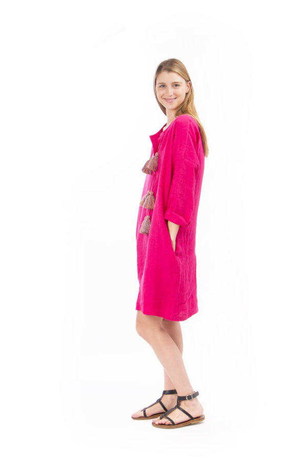 pink linen dress with pompon