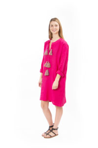 pink linen dress with pompons