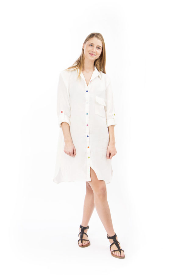 White linen shirt dress with multicolored button