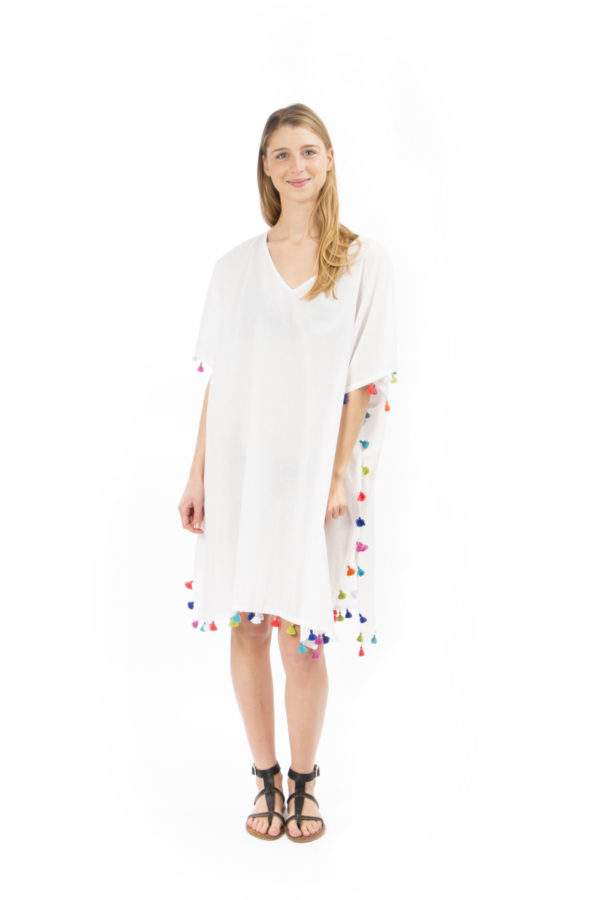 White handmade Poncho with pompoms