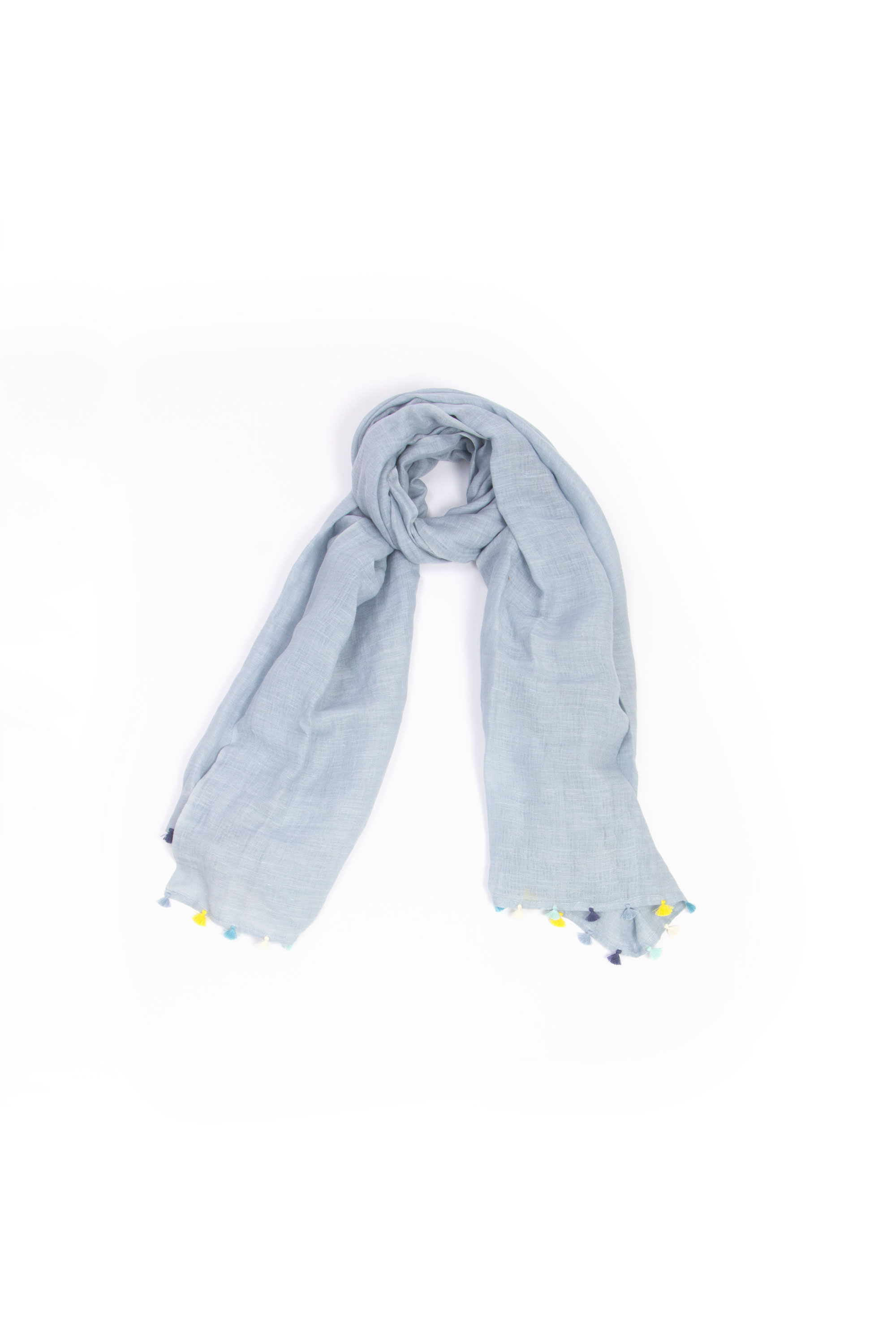 Light Blue scarf with multicolored pompons