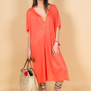 Coral linen dress made in Marrakech