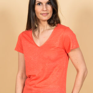 Linen T-shirt in coral