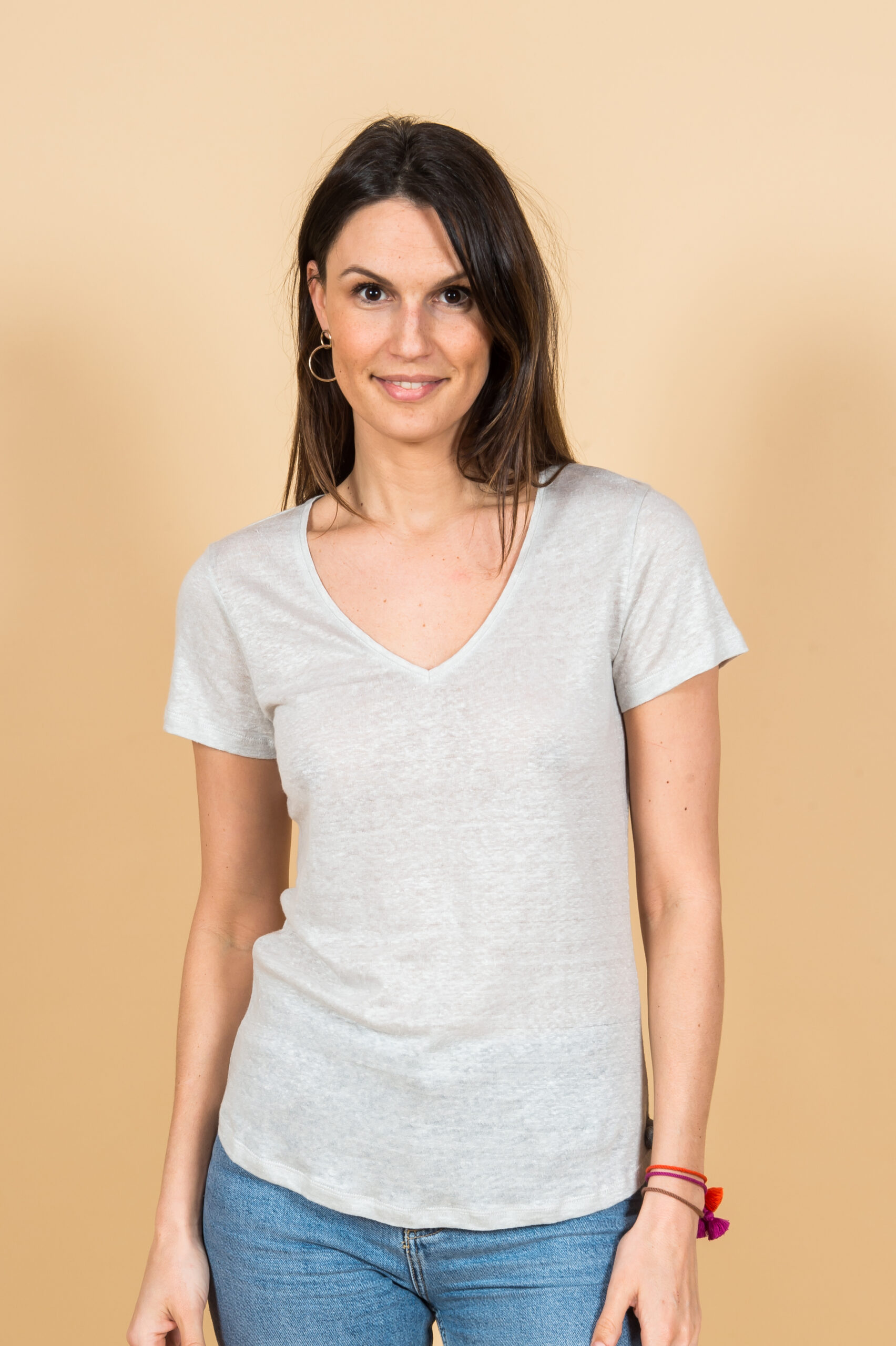 Linen T-shirt in light grey